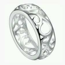 Silver Plated 925 Solid Swirl Abstract Band Engagement/Wedding Ring Size Q/8 781