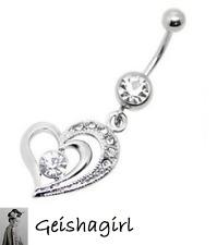 CZ Gem Clear Double Heart Dangle Navel Belly Bar Ring Body Piercing Jewelery UK