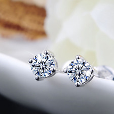 18ct white gold filled GF round simulated diamond stud earrings classic 5mm