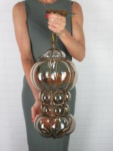Vintage Lamp Suspension A Cage Iron With Glass Murano Xx Century