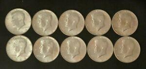 1964 Lot (10) 90% Silver Kennedy Half Dollars ~ 50 Cent Halve Pieces