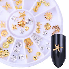 3D Nail Art Rivet Studs Decoration Starfish Shell Gold Silver In Wheel Manicure