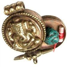 Unique Tibetan Golden Elephant GOD Ganesh Ganesha Ghau Prayer Box Amulet Pendant