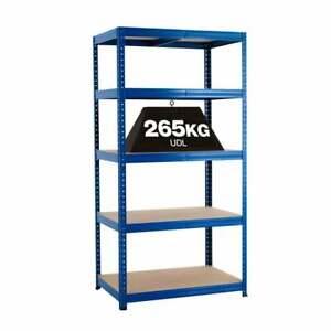 Garage Shelving Unit 5 Tier Melamine Finish Shelves Blue 1780h