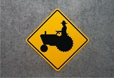 TRACTOR CROSSING SIGN   -   ALUMINUM  MARKER -  FARM SAFETY PLAQUE