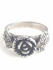 Vintage Sterling Silver Rose Flower Ring 7.5 5.1g