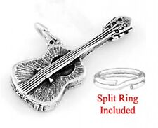 """STERLING SILVER """"ACOUSTIC GUITAR"""" CHARM WITH SPLIT RING"""
