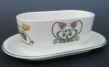 Villeroy & Boch Sauce Gravy Boat Attached Underplate Atlantic Flowers Fish