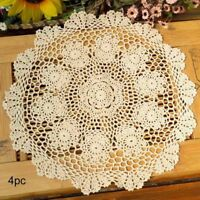 Table Placemat Crochet Doilies Handmade Lace Round Coasters Cotton Pack of 4