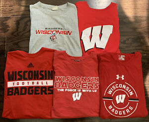 WISCONSIN BADGERS Football NCAA T Shirt Lot of 5 Mens XXL Bucky Madison