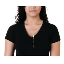 Gold Sterling Silver Rosary Virgin Mary Crucifix Necklace Crucifix Chaplet