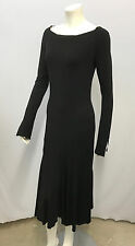 ROBERTO CAVALLI DRESS BLACK ANIMAL PRINT TRIM COOL SLEEVE CUFF DETAIL SIZE M