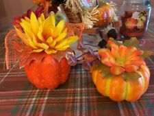 Pumpkin Decor Wreath Pick Harvest Fall Thanksgiving Centerpiece Floral Leaves S2