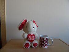 "Vintage ""Be My Valentine"" Stuffed Plush Elephant~1993~Bonus Hearts Mug~New"