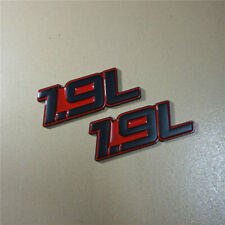 2x 1.9L Red Metal Emblem Badge Sticker Decal Naturally Aspirated Coupe Car Drive