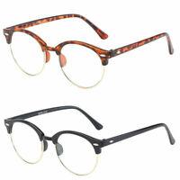 Mens Womens Fashion Round Retro Metal Frame Clear Lens Eye Glasses Large Circle