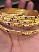 Vintage Handmade Dubai Slip-On Bangles Bracelet In Solid Certified 22Carat Gold