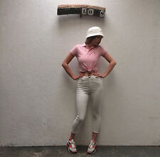 VINTAGE 90s autentico RALPH LAUREN POLO LOGO Baby Rosa T-shirt / tee taglia 8-10