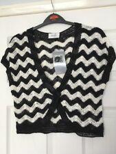 Wallis Black & white Crocheted Cropped Cardigan Shrug Petite M /Sz 12/14 ⭐️New⭐️