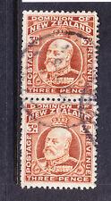 NEW ZEALAND GV 1910 SG395 3d chestnut line perf 14 f/u pair. Cat £40 as singles