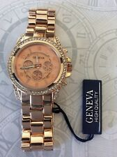 GENEVA WOMEN'S OVERSIZE ROSE GOLD CRYSTAL WATCH ROUND DIAL DESIGNER STYLE  NEW!