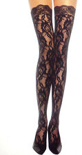 9762 Black Rose Lace Stockings Nylon Thigh High Steampunk Goth Floral One Size