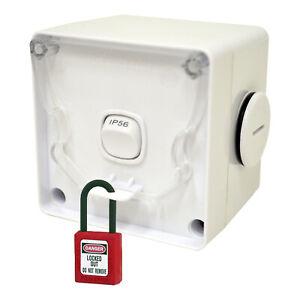 Weatherproof Light Switch Single 1 Gang 10 Amp IP66 Outdoor External Lockable