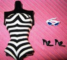 #1 VINTAGE REPRO PONYTAIL BARBIE CLOTHES SWIMSUIT SUNGLASSES OPEN TOE SHOES LOT!