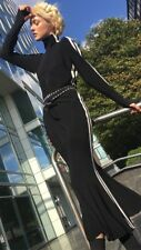 Norma Kamali Side Stripe Turtle Fishtail Dress Size XS Black