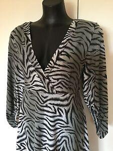 Size 14 Smart Flattering Black Grey Animal Print David House Dress