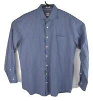 Peter Millar Mens Blue L/S Shirt Plaid Checked Button Front Cotton Size L
