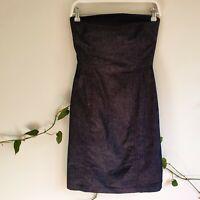 Vintage 90s Y2K Strapless Stretch Denim Mini Dress XS Dark Wash Blue Made in Aus
