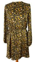 Mango S 10 Black Yellow Long Sleeve Floral Dress Knee Length High Neck Modest