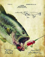 Heddon Fishing Lure Patent Print Vintage Largemouth Bass Fish Cabin Art Decor