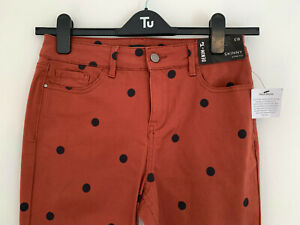 Tu Denim jeans, UK Size 10R, BNWT, Tan brown, polkadot, pockets, skinny fit,