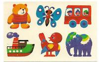 Abziehbild Schiebebild Spielzeug DDR 1985 Teddy Schiff Elefant Vogel Bus ...
