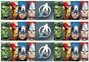 Avengers Assemble Edible Cake Side Strips or Ribbon on Icing Paper Iron Man Hulk