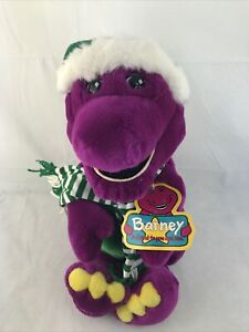 "Large Barney Dinosaur 21"" Christmas Winter Hat Scarf Vintage 1992 Plush"