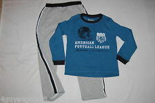 Boys Outfit BLUE L/S SHIRT Gray Sweatpants AMERICAN FOOTBALL  XS 4 S 5-6 M 7