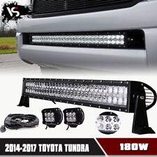 "30inch Front Bumper LED Lights Bar+2x 4"" Fog Lamp+Wiring 2014-2017 Toyota Tundra"