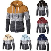 Mens Color Block Zip Up Hooded Jacket Hoodie Sweater Jumper Sweatshirt Tops Coat