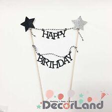 Happy Birthday Cake Mini Bunting Topper Black White Star Party