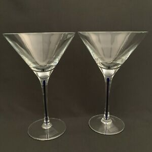 """Luminescence Martini Wine Clear Glass Blue Stem Mouth Blown 7 7/8"""" High Lot of 2"""