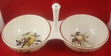 Lenox Winter Greetings Condiment 2 Section Server in Box Chickadee Nuthatch Gold