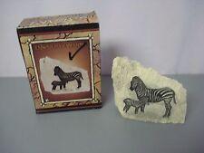"Nib Safari Collection Resin Embossed Safari Stone Zebra 5.5"" x 5"" #85Z"