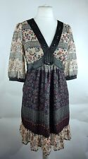 Long Tall Sally  Floaty Chiffon Ditsy Floral Beaded Fit Flare Dress UK 12 (N)