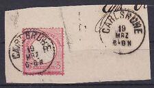 Brustschild Mi Nr. 9 mit K1 Carlsruhe Karlsruhe gest. auf Briefstück, Dt. Reich