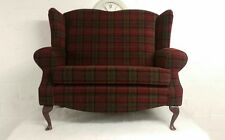 Wing Back Red Lana Tartan Queen Ann Cottage 2 Seat Sofa Love Seat !