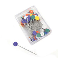 50pcs Flower Head Pins Extra Long Coloured 52 mm Pins Patchwork Quilting NE T1E8