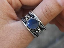 Large Adjustable Tibetan Round Lapis Gemstone Weaving Dotted Amulet Thumb Ring